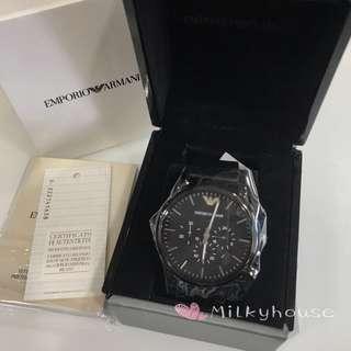 🚚 Emporio Armani black leather strap Watch
