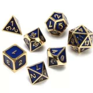 🚚 Metal Dice with Gold/Bronze Borders: Blue, Black, Bronze, Gold