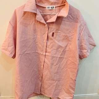 BN Japan baby pink and white striped button up shirt authentic