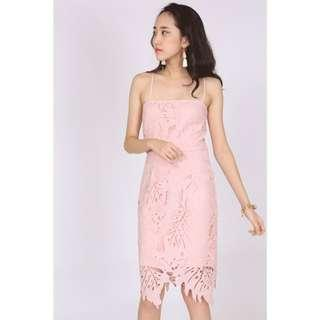 MDS Pink lace crochet cami dress