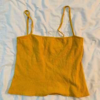 BN brandy Melville mustard yellow Faye square neck tank top authentic bm