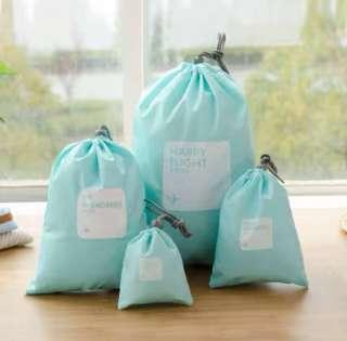 4 pc Light Blue Drawstring Travel Organiser Pouch Luggage Bag