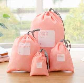 4 pcs Pink Drawstring Travel Pouch Luggage Organiser