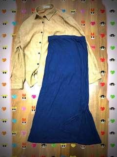 鬆緊棉質長裙 小開衩  文青襯衫#九月女裝半價
