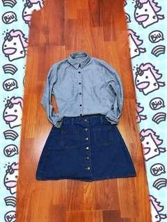 牛仔排扣裙 A字裙#九月女裝半價