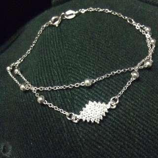 Diamond Gem Stones Duo Chain w/ Balls Genuine 925 Sterling Italy Silver Bracelet