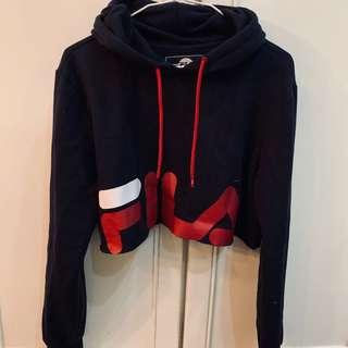 BN fila navy blue graphic logo crop hoodie pullover authentic