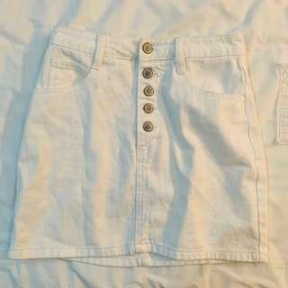 BN brandy Melville white Crosby denim half Button down skirt authentic bm