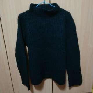🚚 黑色中高領超保暖厚實毛衣