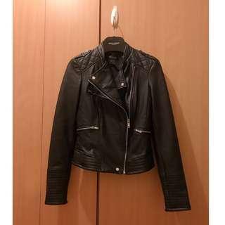 ZARA black leather biker jacket coat blouse cardigan top shop sandro maje mango french connection max mara balenciaga river island club monaco 外國超靚款黑色皮褸 外套 襯衫