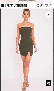PLT khaki split bandeau dress