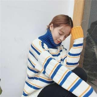 🚚 韓版撞色高領條紋毛衣
