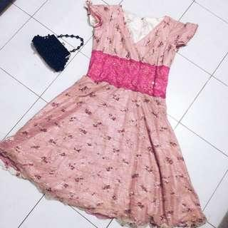 Pink Embroidered / Lace Dress