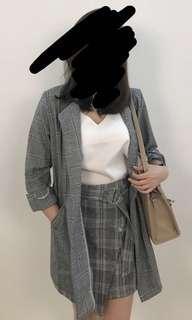 Plaid checkered grid Grey Outerwear Coat Blazer Set