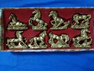 8 HORSES IN DIFFERENT POSE.   RAISIN MADE.   KEPT FOR 15 YEARS AND WAS NEVER DISPLAYED.