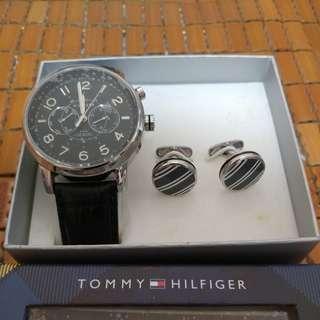 Tommy Hilfiger Watch & Cufflinks Gift Set 石英皮帶手錶 袖口鈕
