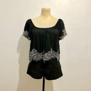 F21 Black Embroidery Top