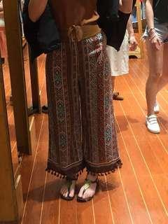 歐美文族風條紋啡色闊腳褲