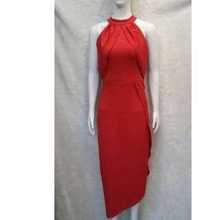 midi body con dress gown red
