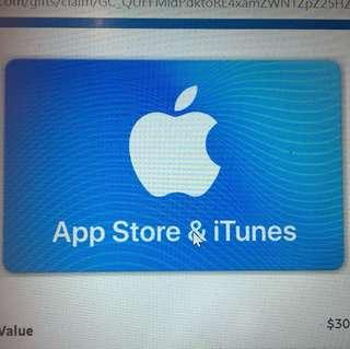App Store & ITunes $30 Gift Card