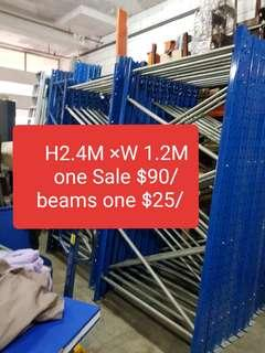 SALE ●USE● HEAVY  DUTY  RACKING      H  2400MM × W1200MM × L2450MM PER ONE VERTICAL SIDE STRUCTURE $90/ .ORANGE  BEAMS SALE $25/.