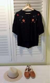 🚚 我的南法風情 秋🍁棉麻料 刺繡襯衫 波西米亞風
