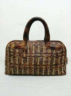 Vintage Genuine Weave Snakeskin Handbag