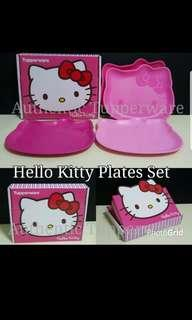 Instock Authentic Tupperware - Ready stock  Hello Kitty Plates Set (4) 23.5cm (L) × 20.1cm (W) × 1.6cm (H) Gift Box  Retail Price S$34.00 Or 1 For $8.50/Pc pink