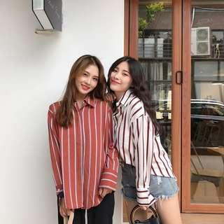 Brick (Brown) Red Striped Button Up Long Sleeve Blouse