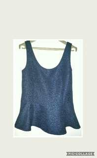 Mango Navy Blue Peplum top