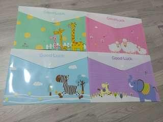 Children's Day Gifts $1 & below!!! Cute Animal Characters Pastel Coloured A4 Button Files @ $1 per pc