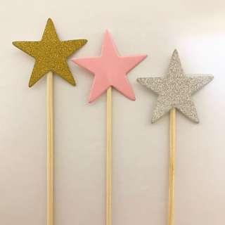 Cupcake & Cake Toppers: Sparkly Stars