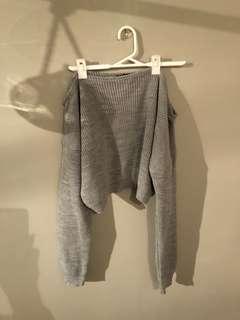 Grey shoulder sweater