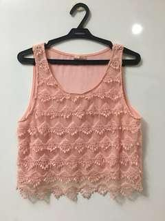 Pink Sleeveless Lace Crop Top