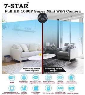 Portable Super Mini 2 Megapixels Full-HD 1080P Wifi Battery Hidden Spy Pinhole Camera (Invisible IR Night Vision - Motion Detection - Loop Recording - Audio Recording - APP:BVCAM) 7-STAR* Wireless IP Camera
