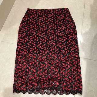 Lace red skirt