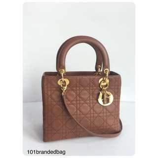Christian Dior Lady Dior Lambskin Medium 2Way Tote Bag