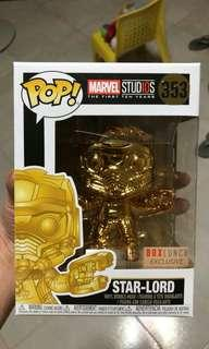 Funko Pop Star Lord Gold Chrome BoxLunch Exclusive Vinyl Figure Collectible Toy Gift Movie Comic Super Hero Marvel GOTG Guardians Of 6