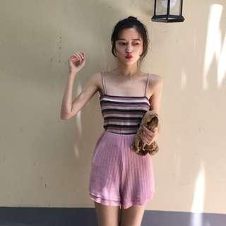 INSTOCKS Knitted sweater high waisted shorts - pink