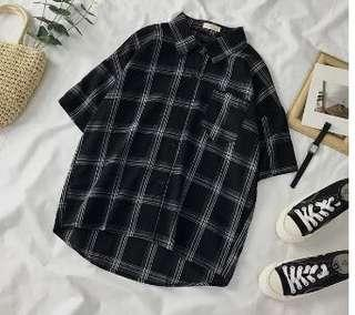 🚚 Black Checkered Shirt #MAF40