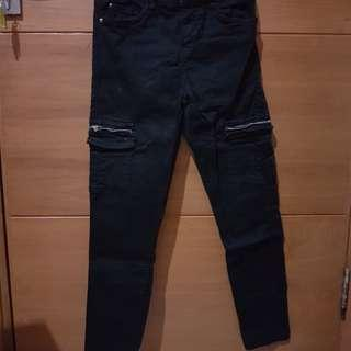 Celana cargo bershka hitam