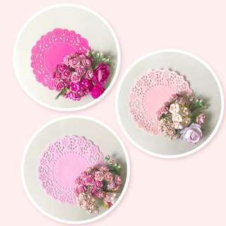 Pink floral Mulberry Doily set for Wedding , scrapbook materials