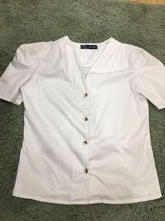 NEW Zara Rep White Top with buttons