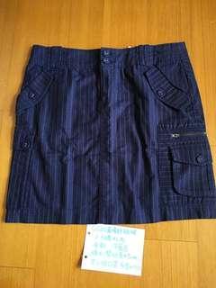 🚚 Gozo直條紋深藍短裙
