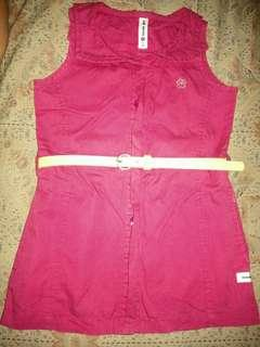 Moose Girl Dress Large  Pink with Belt fits 2 4 years old