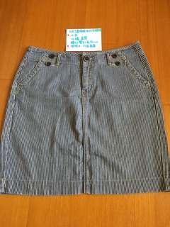 🚚 Net 直條紋牛仔及膝裙