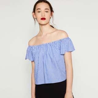 Zara Off Shoulder Poplin Top