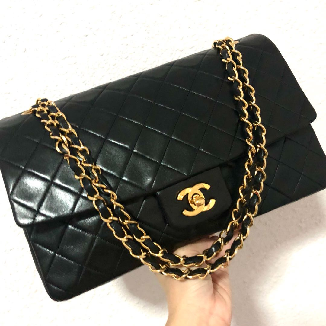 Authentic Chanel 11 Inch Large Lambskin Classic Flap Bag with 24k ... ee089ce1dbeeb