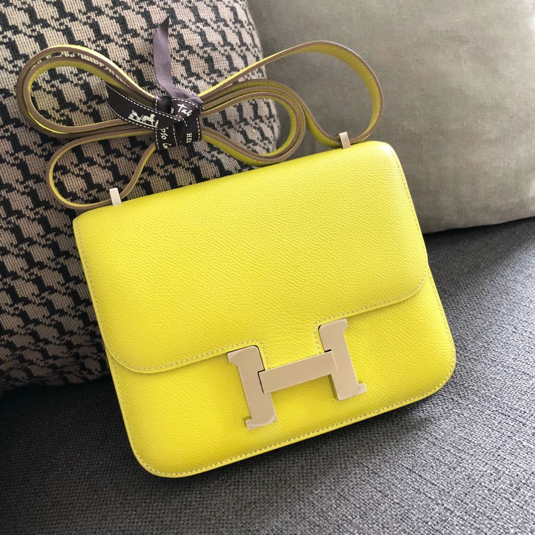 9702a312dd Authentic Hermes Constance 18 Lime Epsom Phw O stamp