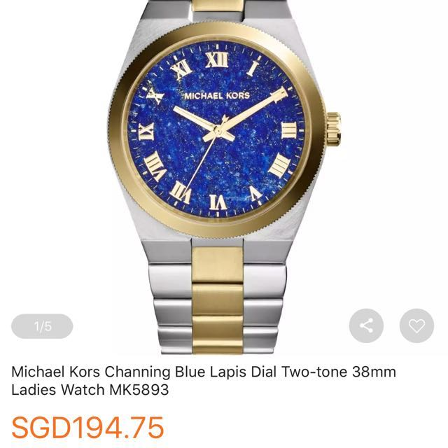 a9e5e3ba3788 Authentic Michael Kors Channing Blue Lapis Dial Two-Tone